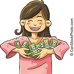 Cute Girl Holding Money - cartoon illustration of cute girl...