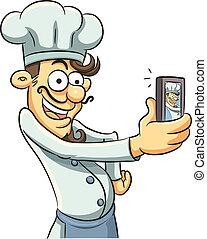 Narcissistic Chef - cartoon illustration of narcissistic...