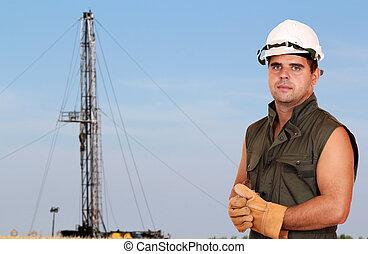oil worker on oilfield