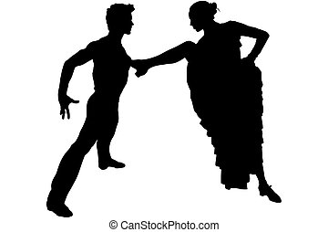 silhouette man and girl in the pose of dance Flamenco