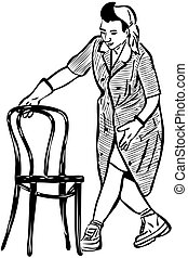 sketch cleaner in rubber gloves with a chair - a sketch...