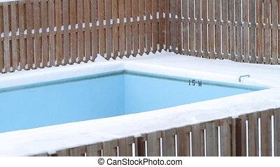 Empty Pool on winter. - Empty pool in snow landscape in...