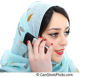 Arabic girl talking on cell phone
