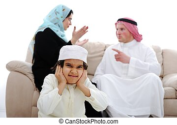 Arabic family fighting at home - Arabic couple fighting and...