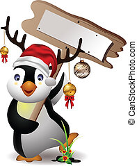 cute penguin christmas with board - vector illustration of...