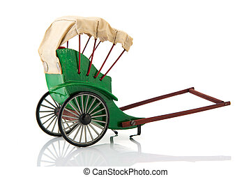 Pulled rickshaw - Green empty Pulled rickshaw isolated over...