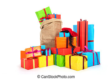 Many presents for Dutch Sinterklaas eve - many colorful...