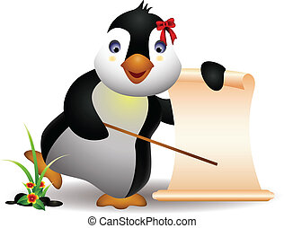 cute penguin with blank sign - vector illustration of cute...