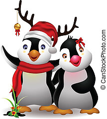 cute penguin cartoon couple - vector illustration of harmony...