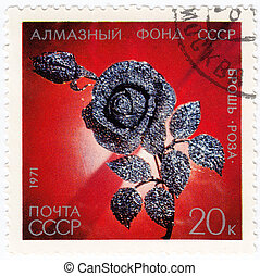 USSR - CIRCA 1971 : stamp printed in USSR showsRose Brooch exhibited in Diamond Fund, circa 1971