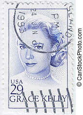 USA - CIRCA 1993 : stamp printed in USA shows Grace Patricia Kelly was an American actress and Princess consort of Monaco, circa 1993