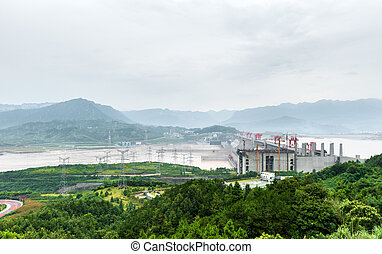 Three Gorges Dam on the Yangtze River - View of the Three...