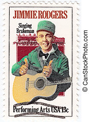 USA - CIRCA 1997 : stamp printed in USA shows Jimmie Rodgers american country singer, circa 1997