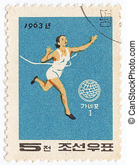 NORTH KOREA - CIRCA 1963 : post stamp printed in North Korea...