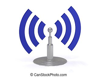 Wifi antenna icon on white background, 3D render image