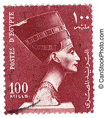 EGYPT - CIRCA 1980 : stamp printed in Egypt shows bust of...