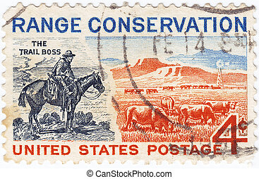 USA - CIRCA 1960 : stamp printed in USA shows Range...