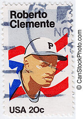 USA - CIRCA 1972 : stamp printed in USA shows Roberto...