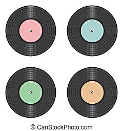 vinyl records on white background - vinyl record on white...