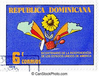 revolución, estampilla, 1976, -, dominicana, norteamericano,...