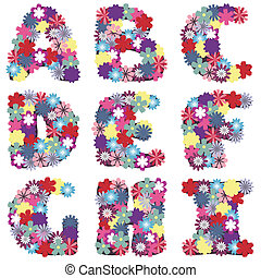 alphabet with flowers on white
