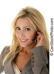 Customer Service Smile - Happy, smiling blonde customer...