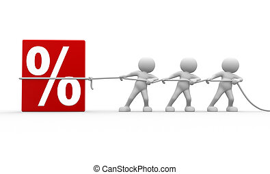 Percent - 3d people - men, person and discount sign. %. To...