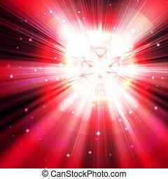 red star flash, on a dark background