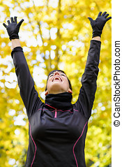 Sport woman happy victory - Happy beautiful sport woman with...