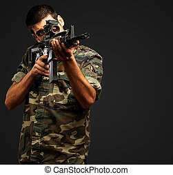 Soldier Gunman Aiming His Target