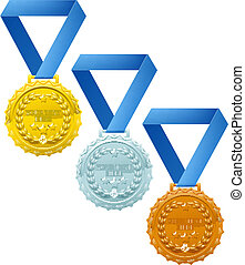 Medals - Three winners medals, bronze silver and gold, with...