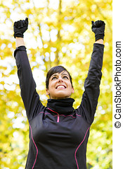 Sport woman celebrating victory - Happy beautiful sport...