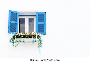 Greek Style windows and flower blank for text