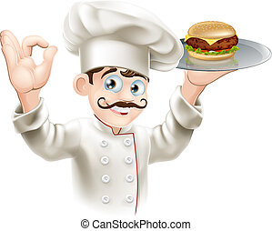 Chef with burger - Illustration of a chef holding a gourmet...