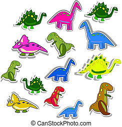 Several colorful dino's isolated on white