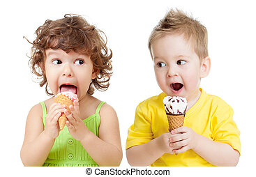children or kids, little girl and boy eating ice cream...