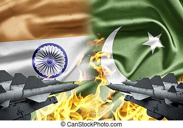 a, confrontação, entre, Índia,...