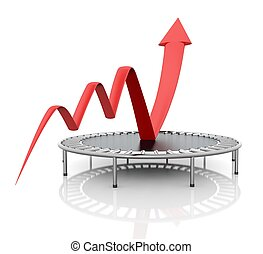 Business growth red graphic relaunched with a trampoline on...