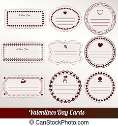 Vector set of card valentine's day vintage