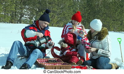 Picnic on the snow - Parents and children having a winter...