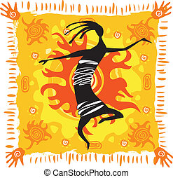 Dancing figure on an orange background