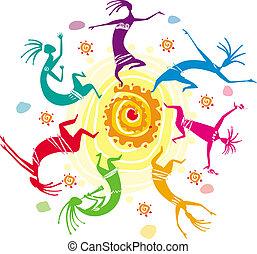 Color, círculo, figuras, bailando