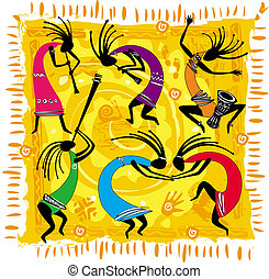 Dancing figures on an orange background