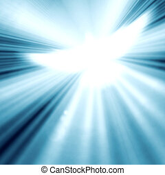 shining dove with rays on a blue background