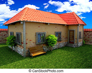 house in blue sky and grass - old house in blue sky and...