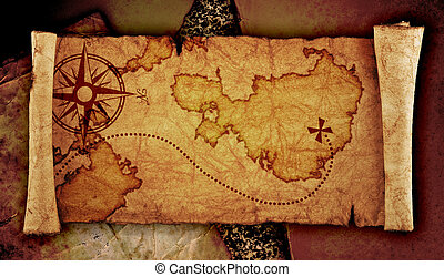old treasure map, on the old vintage background