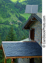 Photovoltaic panels in the mountains - Photovoltaic panel...