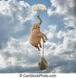 Elephant Flying With Balloons and with a stone tied to his...