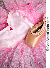 Ballet Costume - Pink Ballet costume and a used ballet shoe