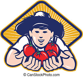 Organic Farmer Boy Handing Tomato Retro - Illustration of an...